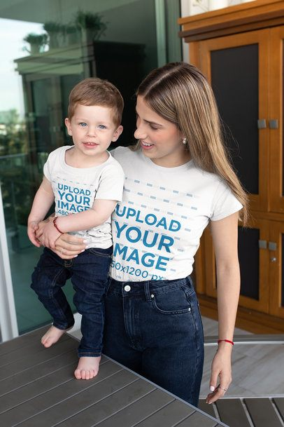 T-Shirt Mockup of Mom and Son with Coordinated Outfits 26368