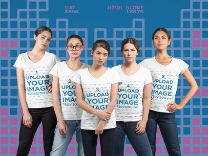 Mockup of a Group of Female Gamers Wearing a Tee at a Studio 29958