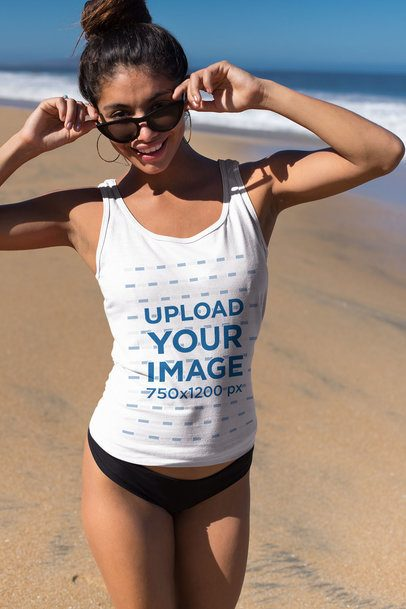 Tank Top Mockup of a Woman with Trendy Sunglasses at the Beach 26775