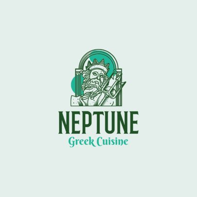 Elegant Greek Cuisine Logo Maker with an Ancient Statue Clipart 1929c