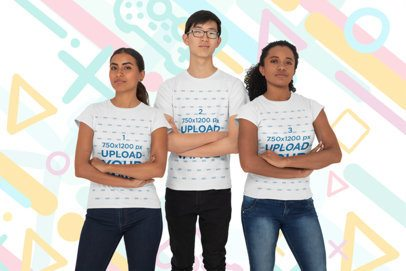 Mockup of a Group of Three Gamers Wearing T-Shirts 26403