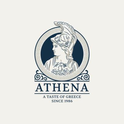 Restaurant Logo Maker with an Ancient Greek Soldier Clipart 1914b