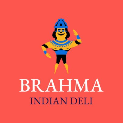 Logo Template for an Indian Deli with a Brahma Illustration 1831d