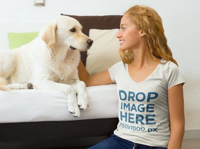 Girl Playing With Dog at Home T-Shirt Mockup a7811