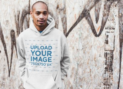 Mockup of a Cool Man Wearing a Heathered Hoodie in an Urban Scenario 24004