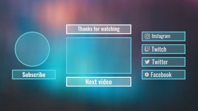 Cool YouTube End Card Maker with a Blurry Colored Design 1253