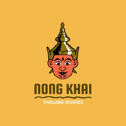 Thai Food Restaurant Logo Template with Cultural Mask Clipart 1842e