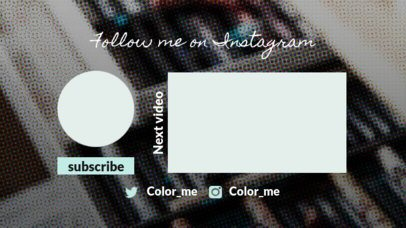 Youtube End Card Template with an Instagram Follow Request 1268c