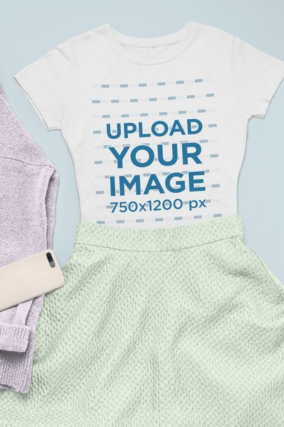 T-Shirt Mockup Featuring a Girly Outfit 26401