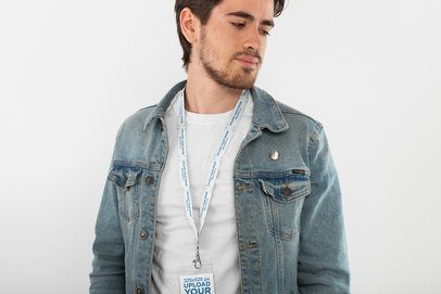 Mockup of a Man with a Lanyard and Badge Holder Against a White Background 26530