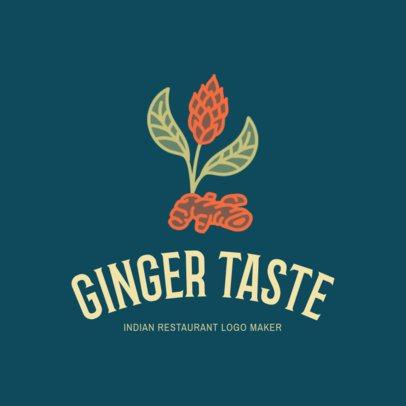 Indian Restaurant Logo Maker with a Ginger Flower Drawing 1834d