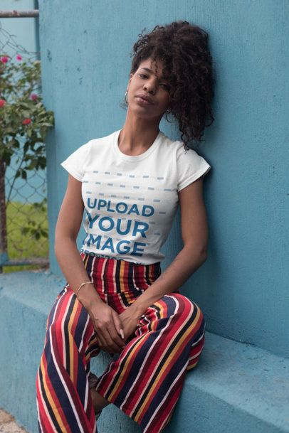 T-Shirt Mockup of a Relaxed Woman with a Kinky Ponytail 27353