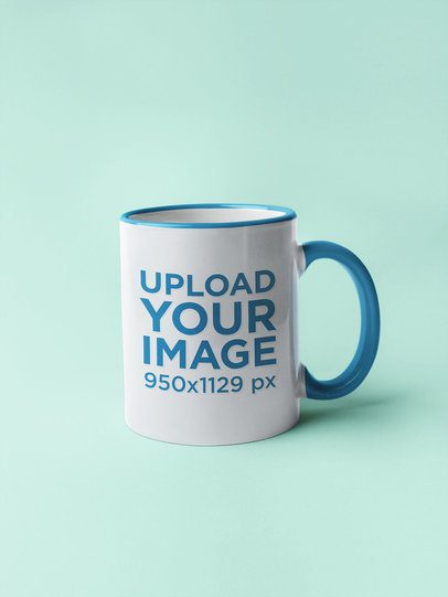 Mockup of an 11 Oz Coffee Mug with a Colored Rim over a Solid Color Background  27786