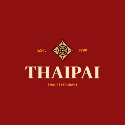 Thai Restaurant Logo Generator with Flower Clipart 1846c