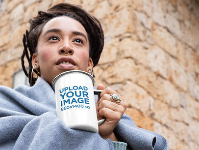 21 oz Enamel Mug Mockup of a Woman Against an Old Colonial-Style Construction 26082
