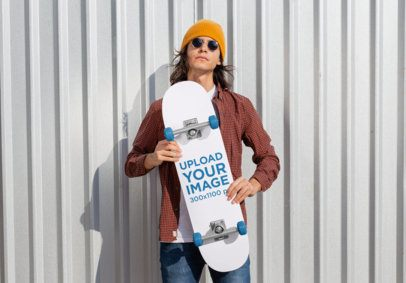 Skateboard Mockup Featuring a Cool Man with Sunglasses 27200
