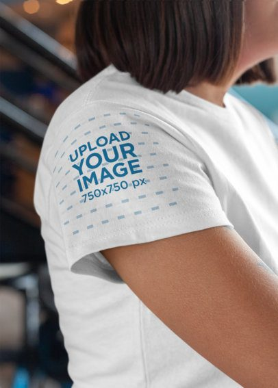 T-Shirt Sleeve Mockup of a Woman's Tee 27143