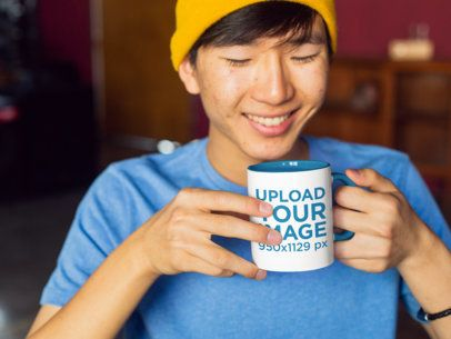 Two-Toned 11 Oz Coffee Mug Mockup Featuring a Smiling Man 27821