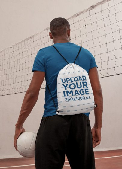 Drawstring Bag Mockup Featuring a Man Ready to Play Volleyball 27597
