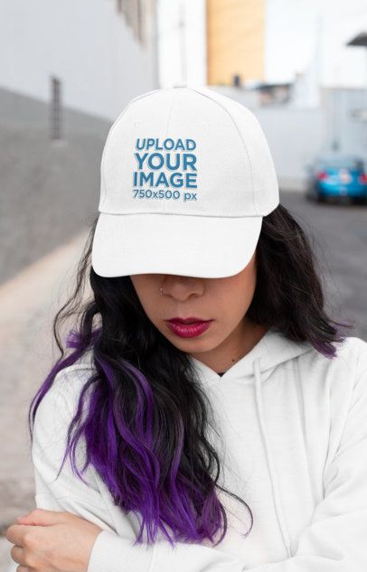Mockup of a Purple-Haired Woman Covering Half Her Face with a Dad Hat 27108