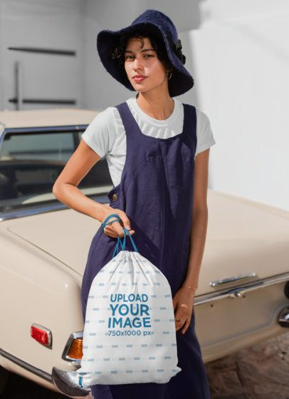 Drawstring Mockup of a Woman Standing Next to a Vintage Car 27576