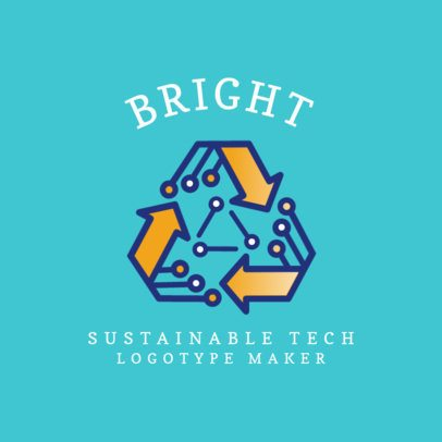 Sustainable Tech Corporation Logo Maker with a Recycling Graphic 2175d