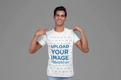 Mockup of a Man Proudly Showing off His Shirt 27854
