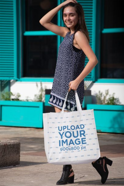 Grocery Bag Mockup Featuring a Woman Holding Her Head 27625