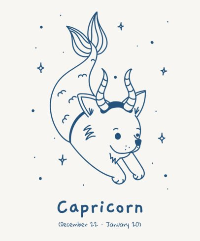 Zodiac T-Shirt Design Template with Illustrated Animals 1427