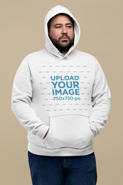 Mockup of a Bearded Man Wearing a Plus Size Pullover Hoodie at a Studio 27775