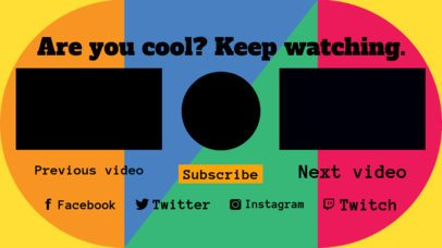 YouTube End Screen Template with Colored Geometric Shapes 1443b