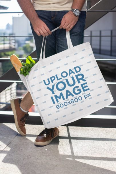 Mockup of a Grocery Bag Filled with Food 27631