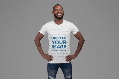 T-Shirt Mockup Featuring a Bearded Man in a Patriotic Pose 27868