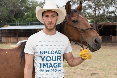 T-Shirt Mockup of a Cowboy Man with a Horse 27974