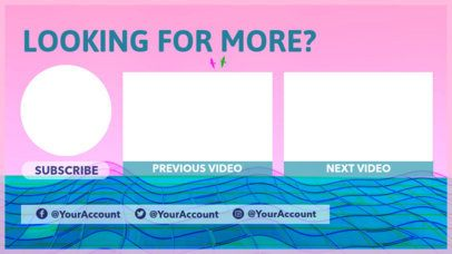 Colorful YouTube End Screen Maker with a Vaporwave Design 1429b