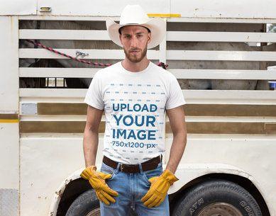 T-Shirt Mockup Featuring a Cowboy Man at a Ranch 27973