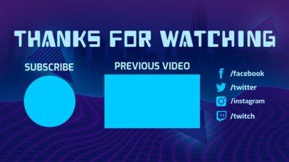 Trendy Vaporwave YouTube End Screen Template 1257e