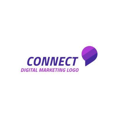Digital Marketing Logo Design Template with a Speech Balloon Icon 2230d