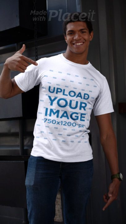 T-Shirt Video Featuring a Happy Customer Pointing at His Shirt 22629