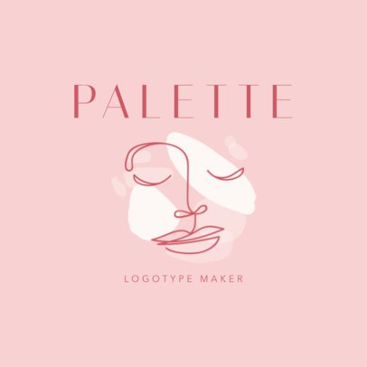 Makeup Brand Logo Template with a Seamless Face Clipart 2212c