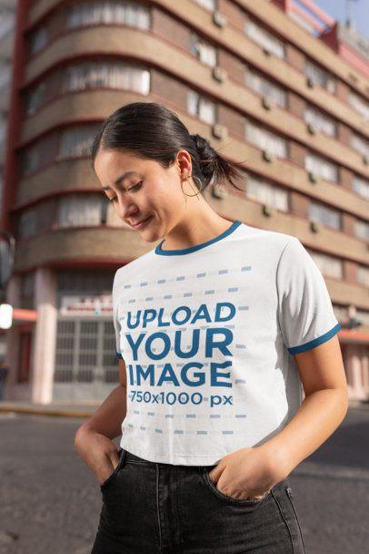 Ringer T-Shirt Mockup of a Woman at the City 27162