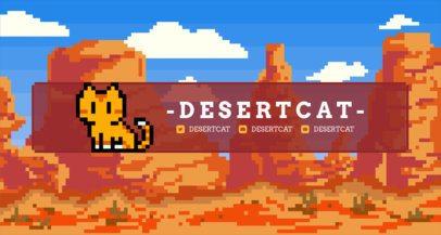 Twitch Banner Template with an 8-Bit Desert Scenario 1452e