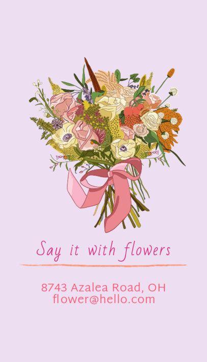 Vertical Business Card Template with a Stunning Floral Arrangement 568b
