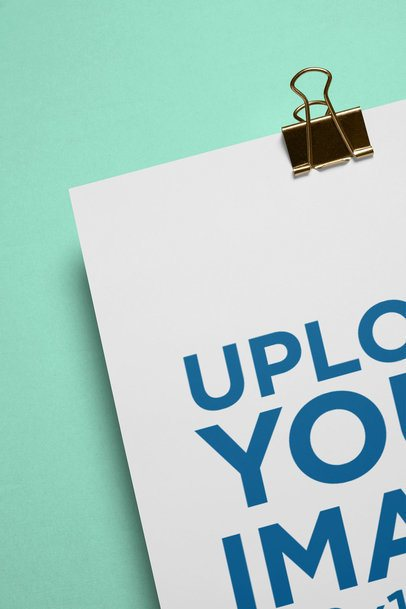 Mockup of a Cropped A4 Letterhead with a Binder Clip 27207