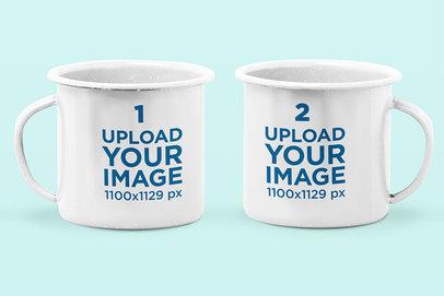 Mockup of Two Enamel Mugs Against a Plain Background 28268