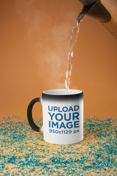 Magic Mug Mockup with Hot Water Being Poured 28178