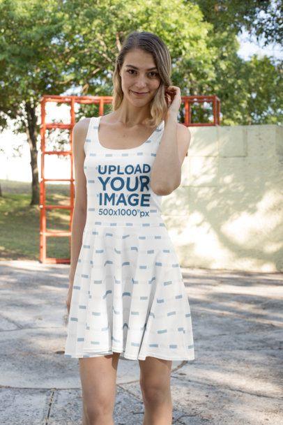 Skater Dress Mockup of a Woman Posing at a Park 27982