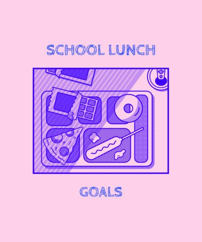 T-Shirt Design Template Featuring a School Lunch Illustration 1523f
