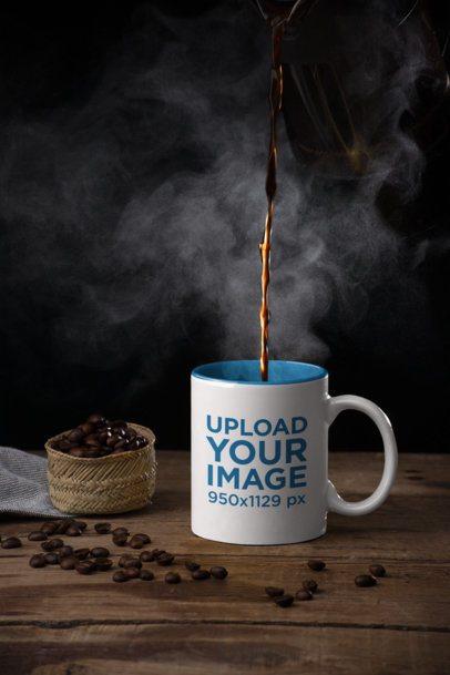 Mockup of an 11 oz Coffee Mug Next to Some Coffee Beans 28182