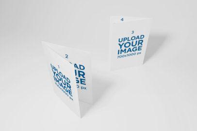 Mockup of Two Bi-Fold Brochures Standing in a Plain Background 39-el